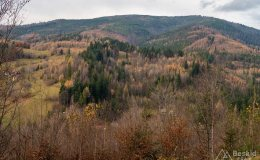 Wierch Wisełka (w środku) i Barania Góra (z prawej), ze szlaku rowerowego wokół Czerwieńskiej Grapy