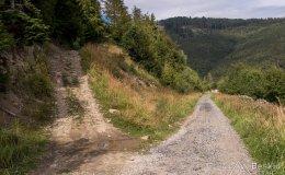 Wjazd ze szlaku rowerowego na Brýzgalky