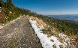 Podjazd na Skrzyczne drogą szutrową z doliny Zimnika
